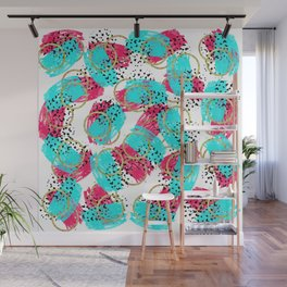 Abstract Aqua Blue Pink and Faux Gold Brushstrokes Wall Mural