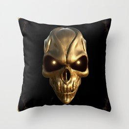 Skull with glowing golden eyes Throw Pillow