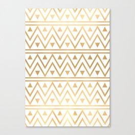 White & Gold Chevron Pattern Canvas Print