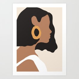 Lovely girl - Muted palette - Modern abstract hand drawn art Art Print
