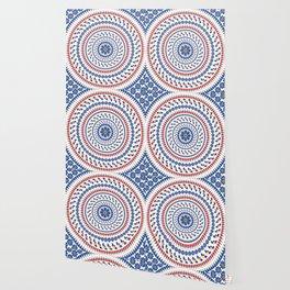 Floral Mandala Blue and Red colour Palette Wallpaper