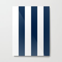 Wide Vertical Stripes - White and Oxford Blue Metal Print