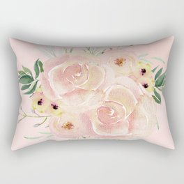 Wild Roses on Seashell Pink Watercolor Rectangular Pillow