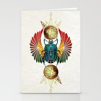 egyptian Stationery Cards featuring egyptian beetle by Manoou