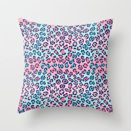 Wildcat Spots Pattern in Pink and Blue Throw Pillow
