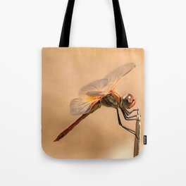 Painted Dragonfly Isolated Against Ecru Tote Bag