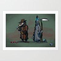 discworld Art Prints featuring #40 Discworld Noir: Lewton, Death and Death of Rats by Jón Kristján Kristinsson