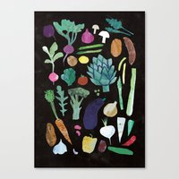 vegetables Canvas Prints featuring Vegetables by The Printed Peanut