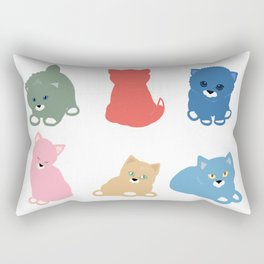 Cats in 6 colours Rectangular Pillow