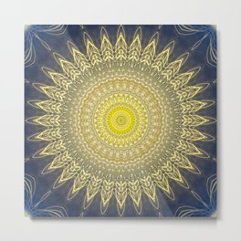 Bright Gold Navy Bohemian Mandala Metal Print