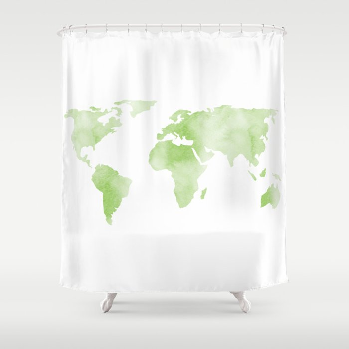 World Map Light Green Planet Shower Curtain