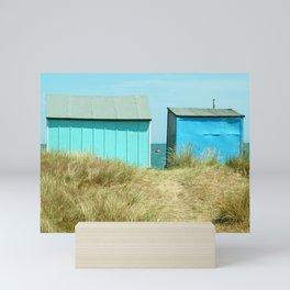 Sandy Dunes, beach huts & a buoy...English seaside Mini Art Print