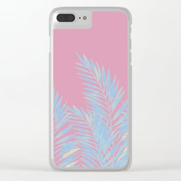 Palm Leaves Blue And Pink Clear iPhone Case