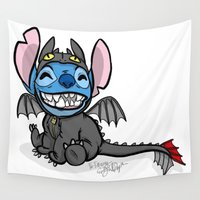 toothless Wall Tapestries featuring Toothless Stitch by Eva Duplan Illustrations