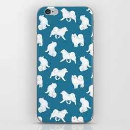 Samoyed Pattern (Blue Background) iPhone Skin