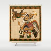 diver Shower Curtains featuring Earth Diver by BohemianBound