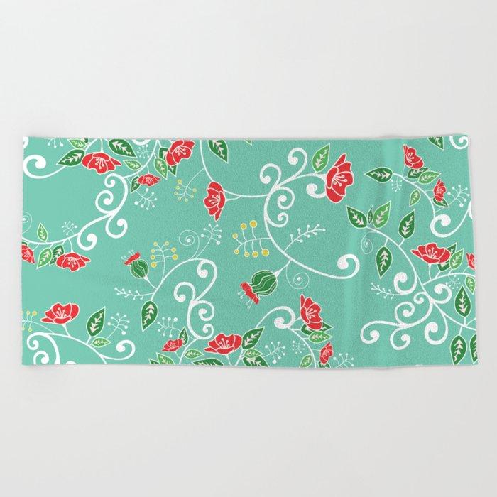 Floral Beach Towel