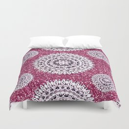 Pink Glitter and Pearl White Patterned Mandala Textile Duvet Cover