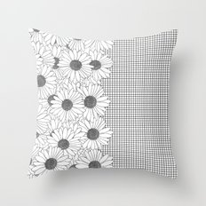 Daisy Grid on Side Throw Pillow