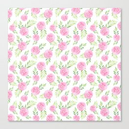 Blush pink green modern watercolor hand painted camellias Canvas Print