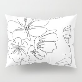Minimal Line Art Woman Face II Pillow Sham