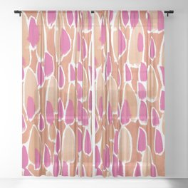 Orange and pink blobs Sheer Curtain
