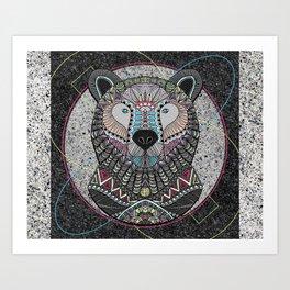Neon Tribal Bear Art Print