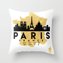 PARIS FRANCE SILHOUETTE SKYLINE MAP ART Throw Pillow