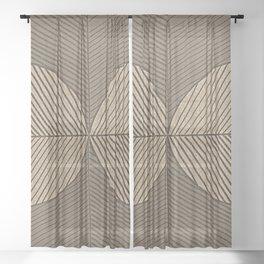 Minimal Tropical Leaves Pastel Beige Sheer Curtain