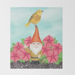 gnome with yellow warbler and petunias Throw Blanket