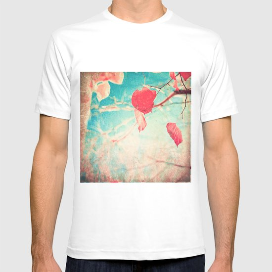Alone Pink Leaf on blue textured sky, autumn fall, photogfraphy  T-shirt
