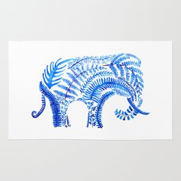 blue elephant watercolor Rug