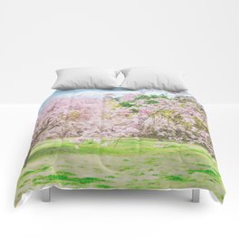 cherry blossoms blooming in a fantastic garden Comforters