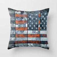 american flag Throw Pillows featuring American flag by Bekim ART
