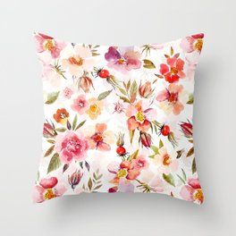 Hygge Watercolor Midsummer Dogroses Pattern  Throw Pillow
