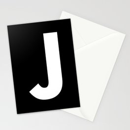 Letter J (White & Black) Stationery Cards