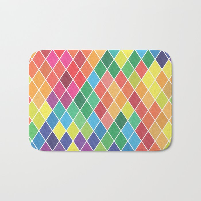 Watercolor Geometric Pattern II Bath Mat