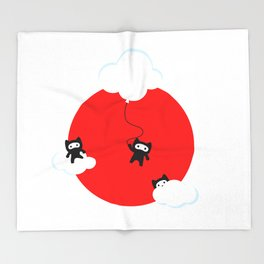 Ninja cats in the sky (Japanese edition) Throw Blanket