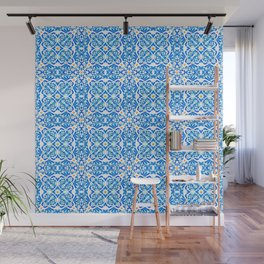 Tangerine and Blue Deco Pattern Wall Mural