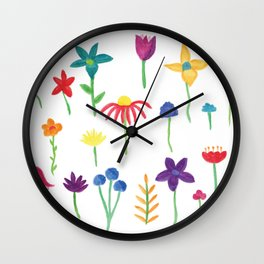 Fun Spring Flowers Wall Clock