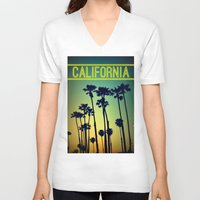 california V-neck T-shirts featuring CALIFORNIA by RichCaspian