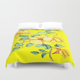 YELLOW BLOSSOM ON YELLOW Duvet Cover