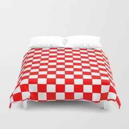 Checkers - Red and White Duvet Cover