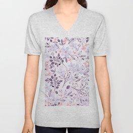 Hand painted modern pink lavender watercolor floral Unisex V-Neck