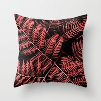 burgundy Throw Pillows featuring Burgundy Bracken by Moonshine Paradise