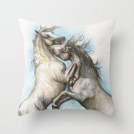 Fighting horses Throw Pillow