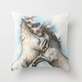 Fighting horses Throw Pillow