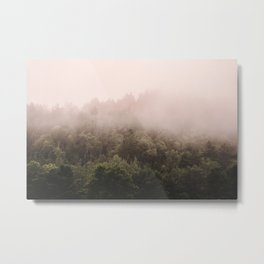 Pink Foggy Forest Landscape Photography Nature Earth Metal Print