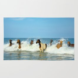 Wild Horses Swimming in Ocean Rug
