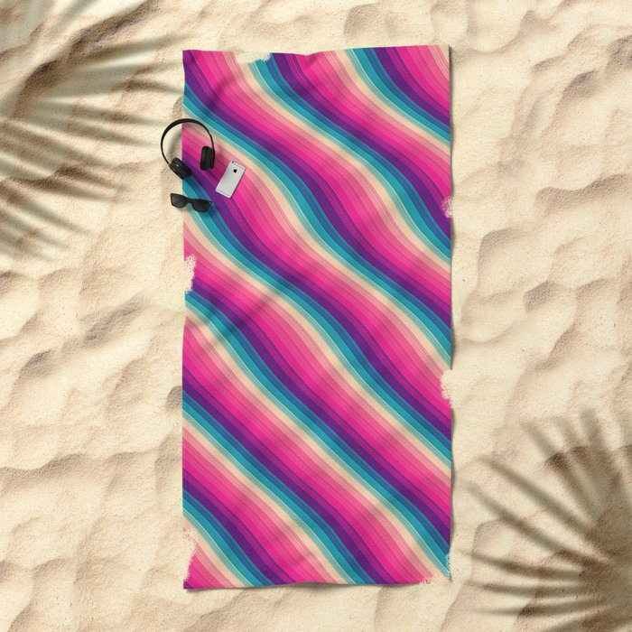 Abstract Color Burn Pattern - Geometric Lines / Optical Illusion in Rainbow Acid Colors Beach Towel